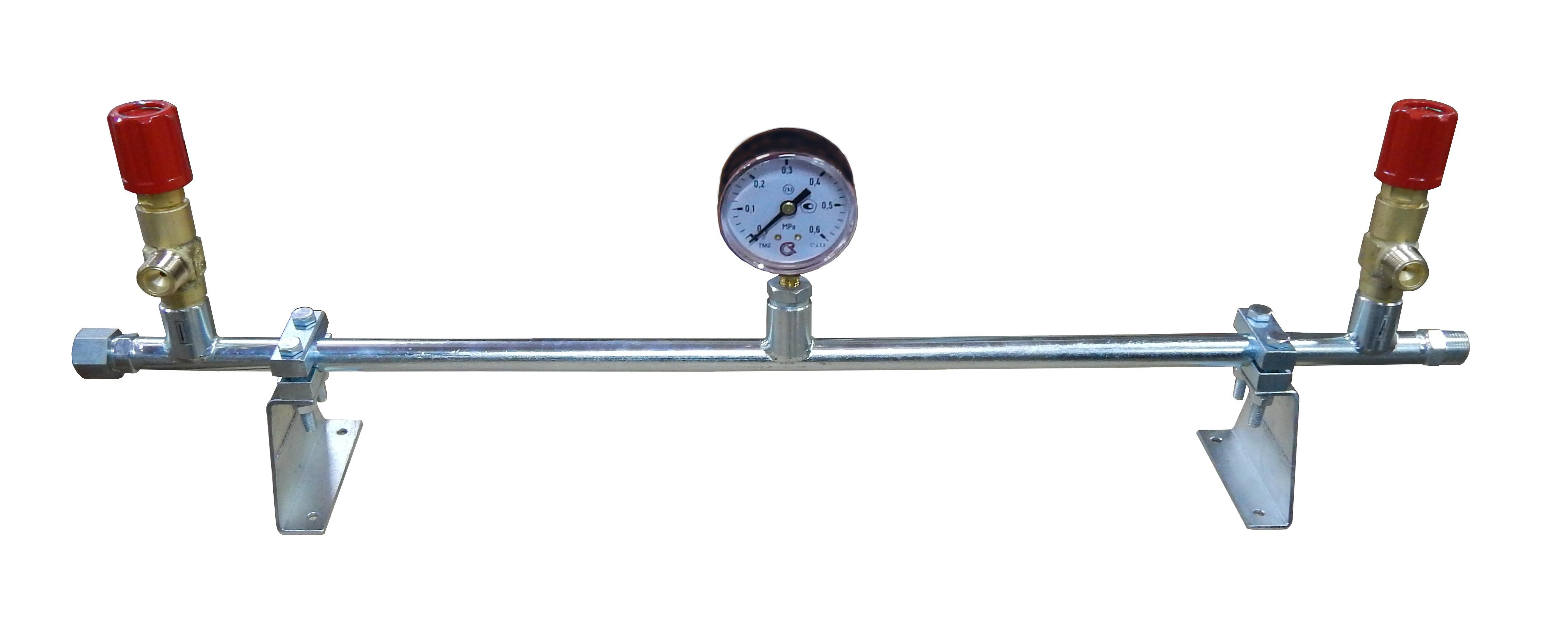 5. Коллектор пропановый 2х вентильный с манометром, манометр Д 100 мм