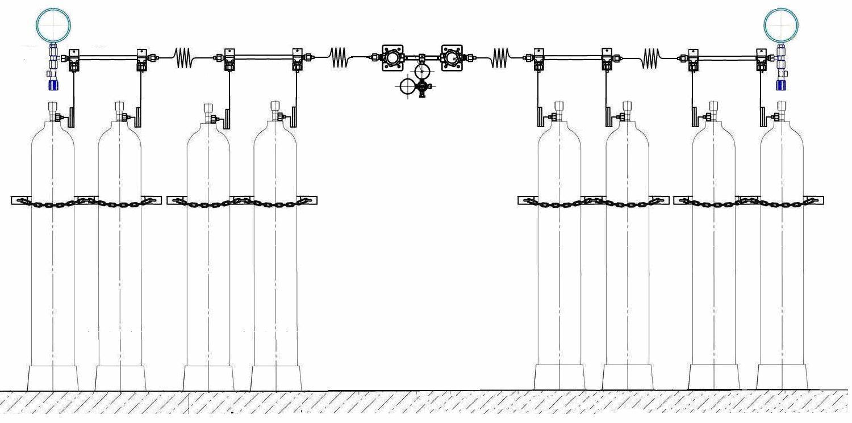 Рампа перепускная РП-01 (8c 2х4) на 8 баллонов